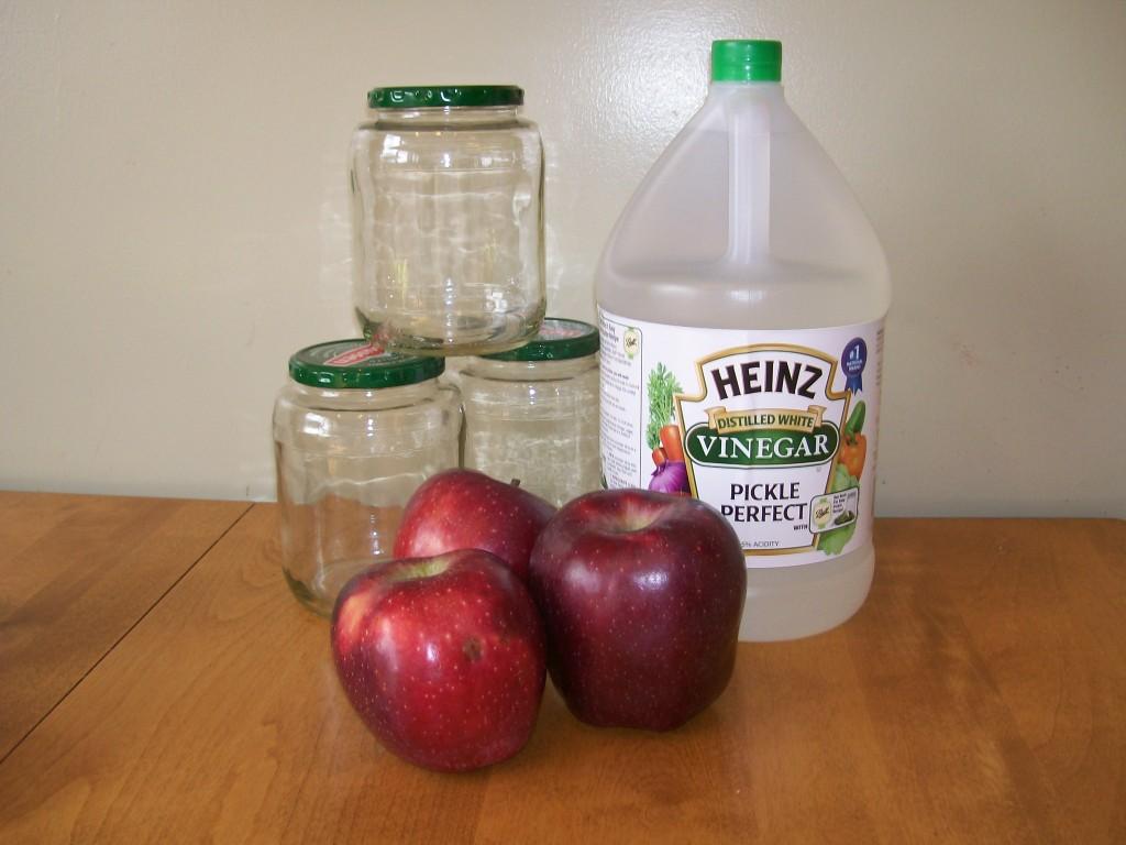 Jars, vinegar, apples