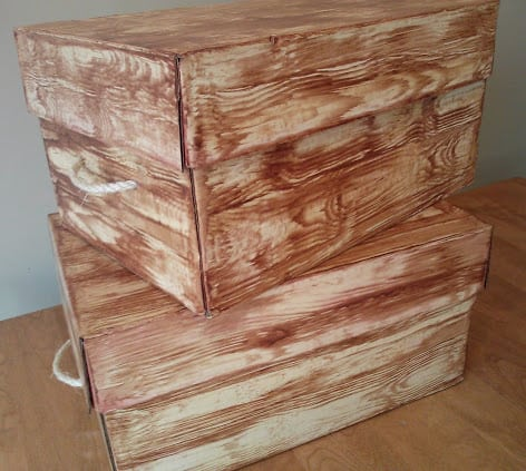Storage box with lid and faux wood grain look
