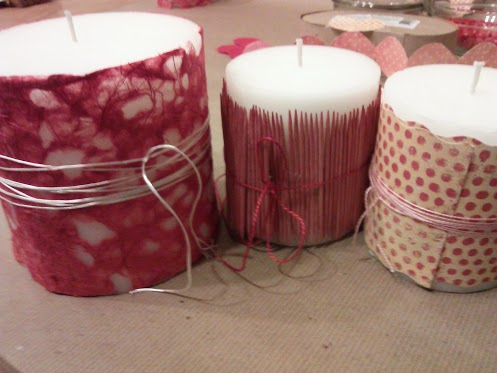 Tie twine around candle