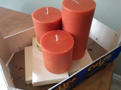 stack candles on wood blocks