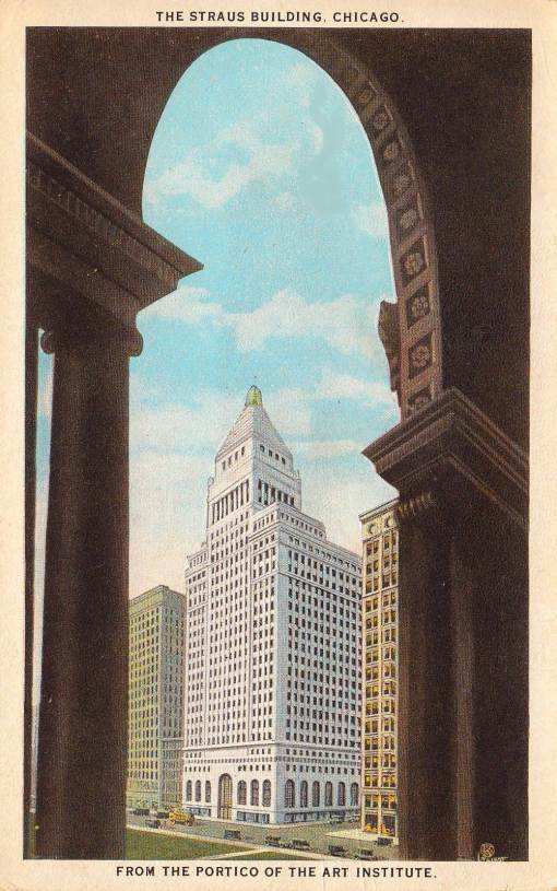 postcard-chicago-the-strauss-building-michigan-ave-from-portico-of-art-institute-c1920