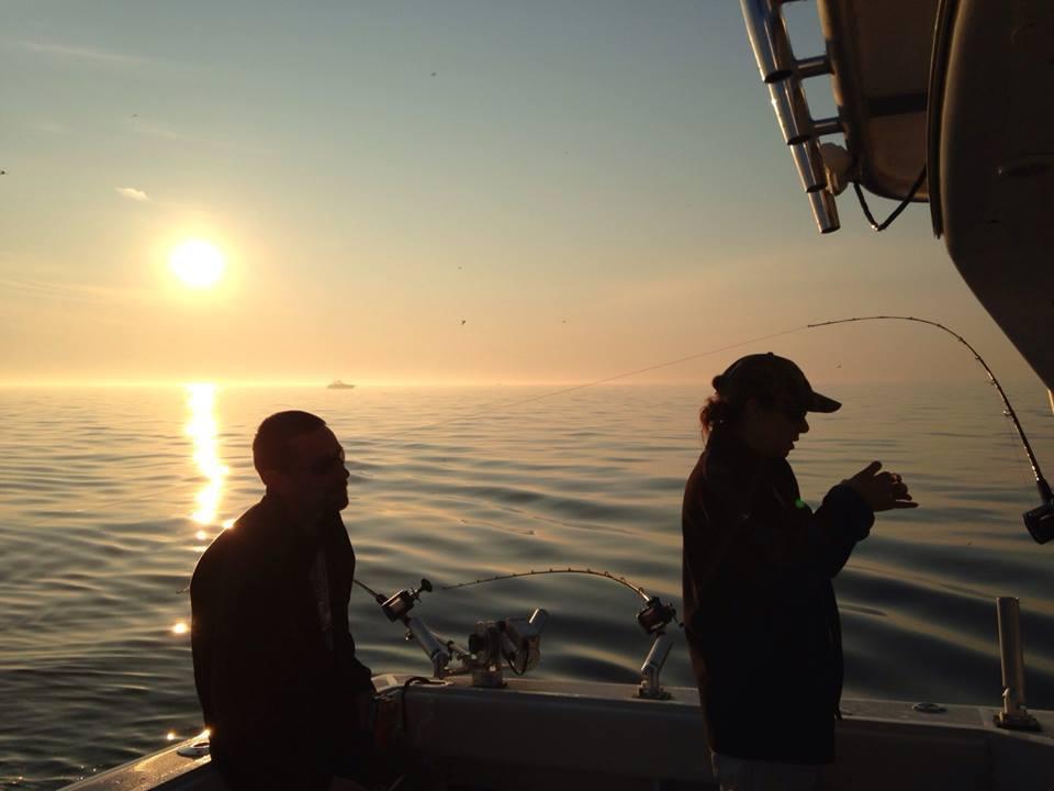 Ken and me- charter fishing Lake Michigan