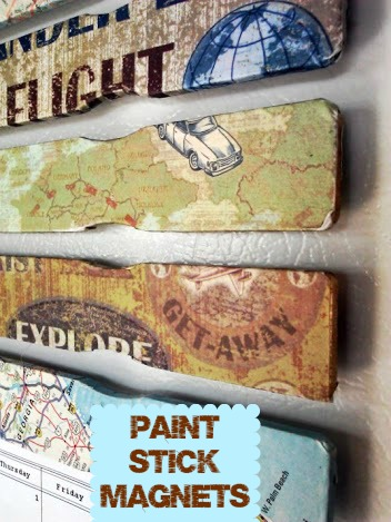 Decoupage Paint Stick Magnets @ StowandTellU
