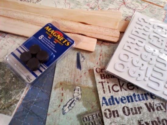 decoupage paint stick magnet supplies