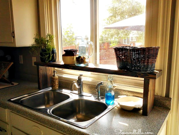 sun bleach stained over the sink window shelf - StowandTellU.com