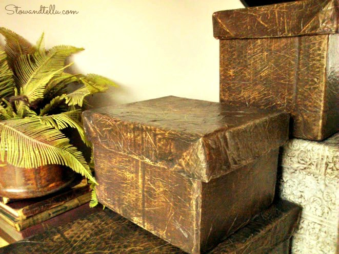 Faux leather-raw hide-storage box with lid-StowandTellU
