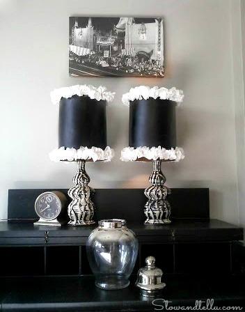 DIY Ruffle Trimmed Lamp Shades-StowandTellU