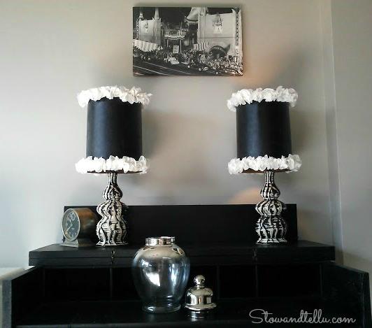 DIY Ruffled Trimmed Glam-Lamp shade-StowandTellU