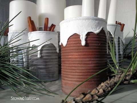 DIY Snow Covered Texture and a Soup Can Centerpiece -StowandTellU