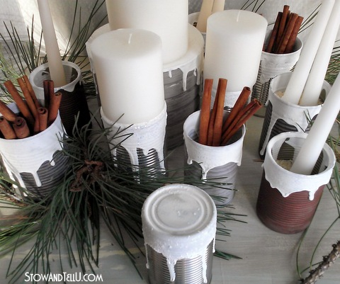 How to make your own Snow Covered Texture and a Soup Can Centerpiece -StowandTellU3