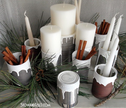 How to make your own Snow Covered Texture and a Soup Can Centerpiece -StowandTellU6