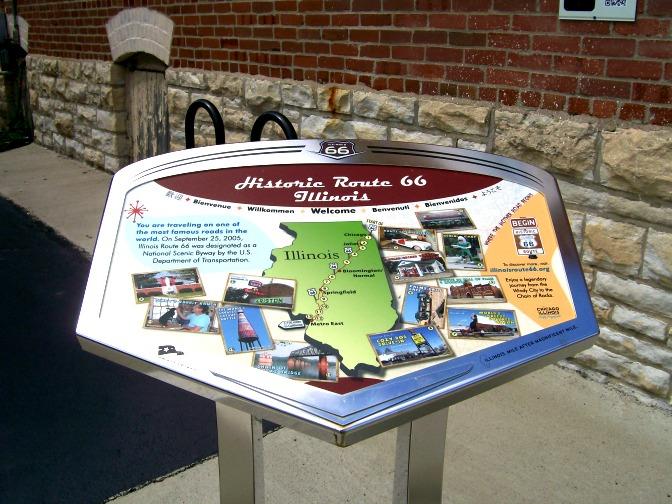 Route 66-Pontiac Illinois-wayside-marker