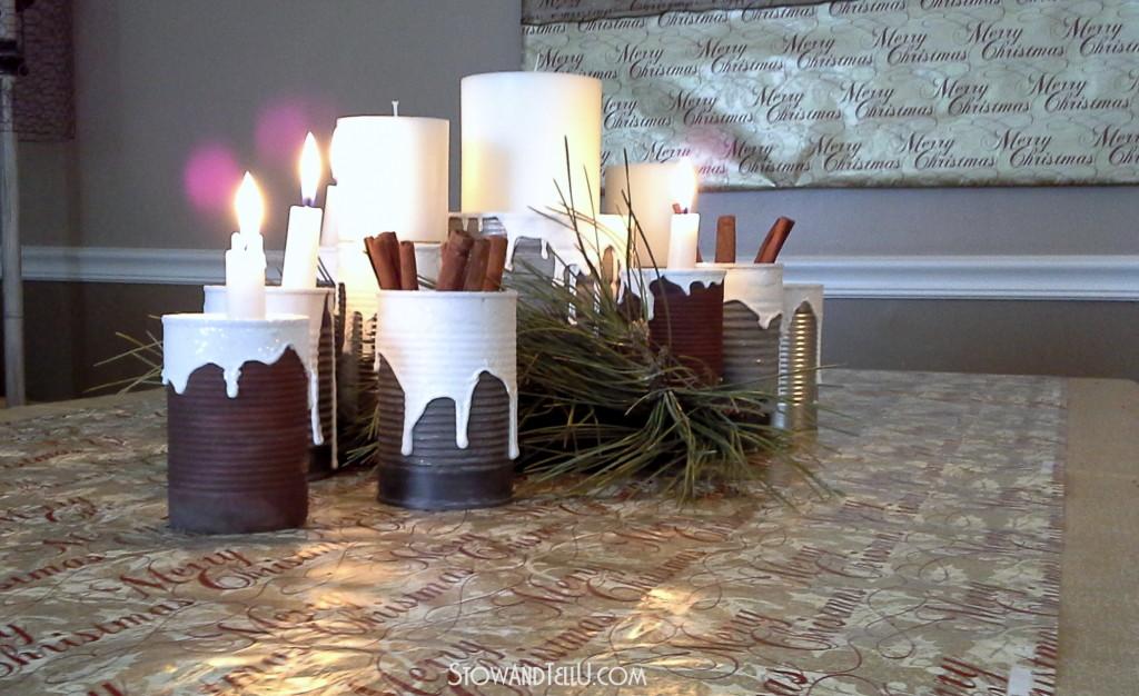 Snow-covered soup can centerpiece-StowandTellU.com