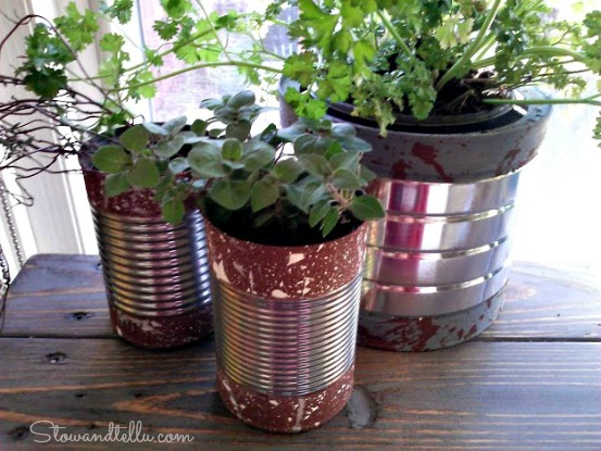 Paint Dipped Soup Cans with splatter paint texture-StowandTellU