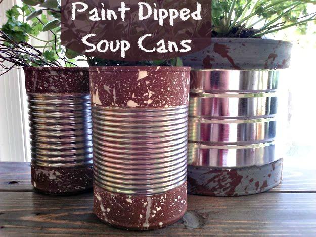 Paint Dipped Soup Cans with splatter paint texture-StowandTellU.com