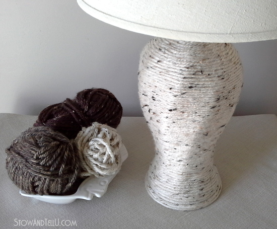 how to make a yarn wrapped lamp-StowandTellU