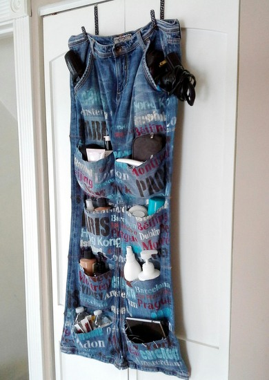 upcycled blue jean hanging travel organizer-StowandtellU