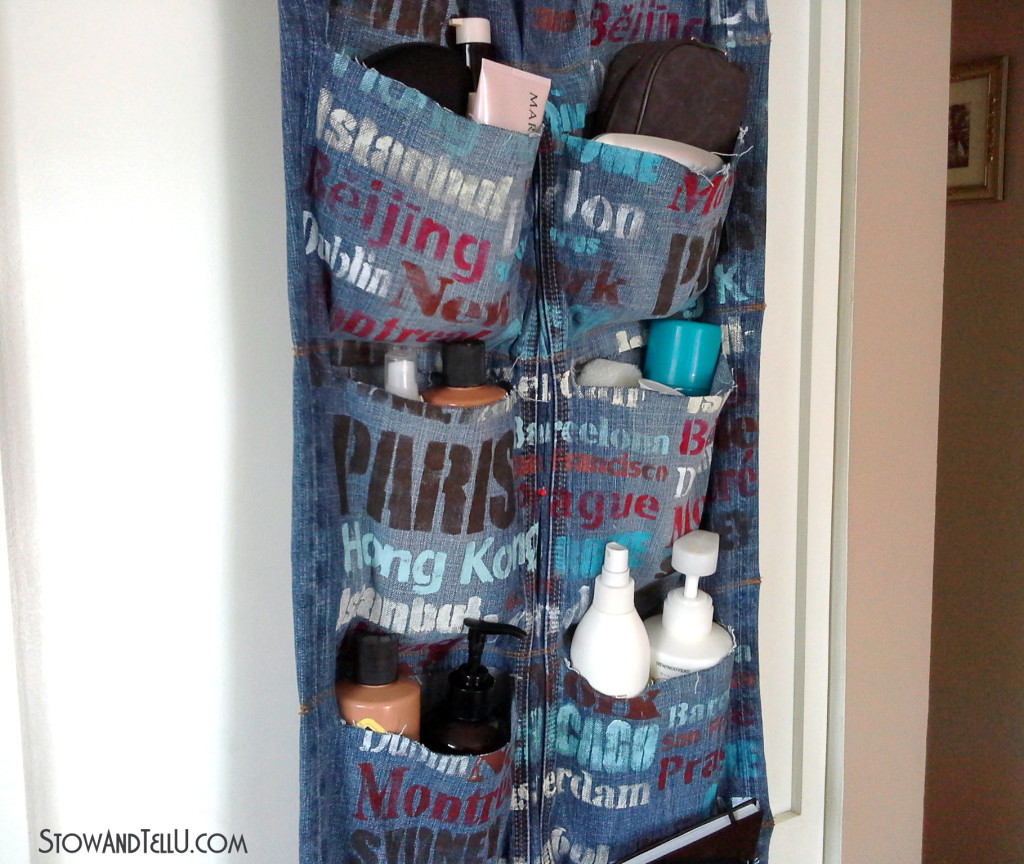 blue jean hanging over-the-door travel organizer-StowandTellU
