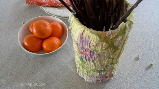 salvaged-outdated-vintage blouseupcycled as a spring vase-StowandTellU