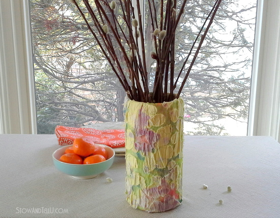 salvaged and outdated blouse upcycled as a spring vase-StowandTellU