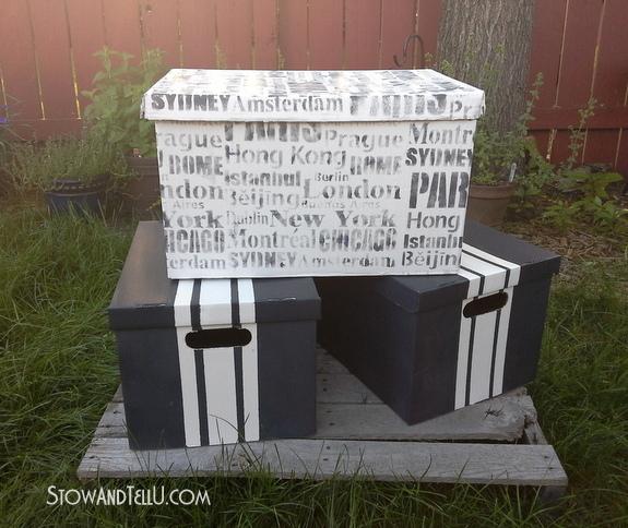 stenciled-cardboard-storage-box-with-lid