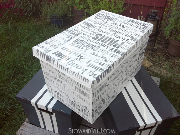 white-gray-travel-inspired-stenciled-storage-box