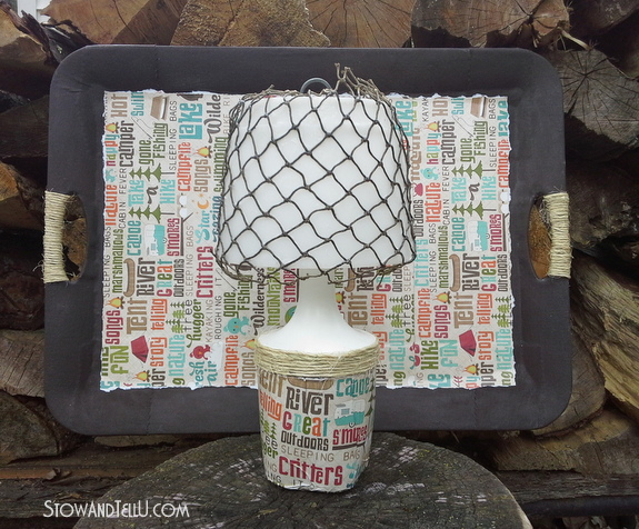camping-themed-decoupage-tray-and-lamp