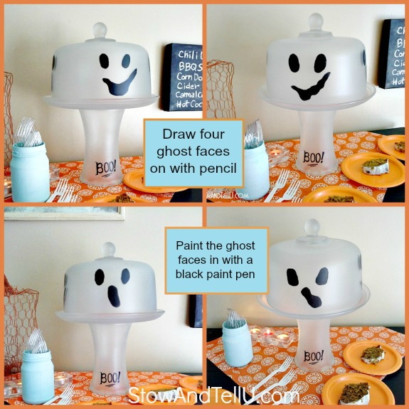 how-to-make-ghost-cake-plate-stand-halloween-steps