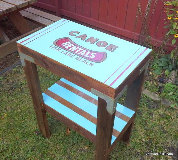 salvaged-table-vintage-canoe-rental-sign