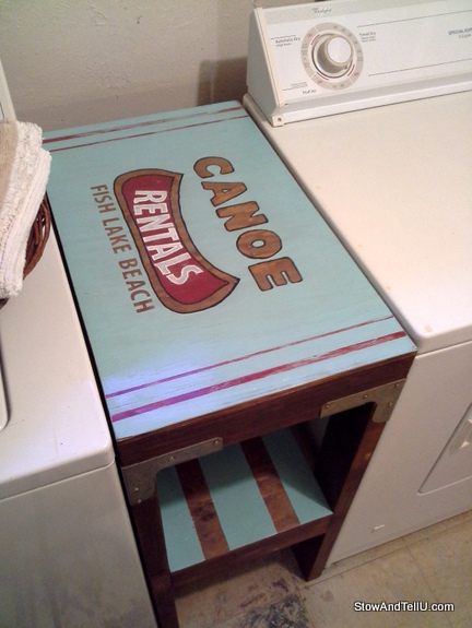 vinatage-canoe-rental-sign-laundry-table